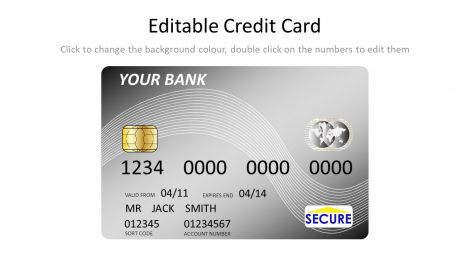 Silver Credit Card Template throughout Business Card Template Powerpoint Free