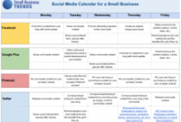 Social Media Calendar Template For Small Business within Business Plan Template Reviews