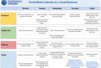 Social Media Calendar Template For Small Business within Marketing Plan For Small Business Template