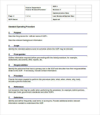 Standard Operating Process Format   Business Mentor pertaining to Business Process Documentation Template