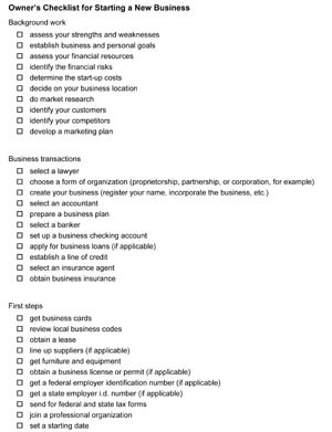 Starting Business Checklist - Small Business Free Forms intended for Business Plan Template Reviews