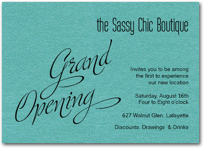 Teal Sparkle Grand Opening Business Invitations for Business Open House Invitation Templates Free