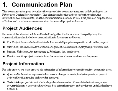 The Project Communication Plan - Mpug throughout Internal Business Proposal Template