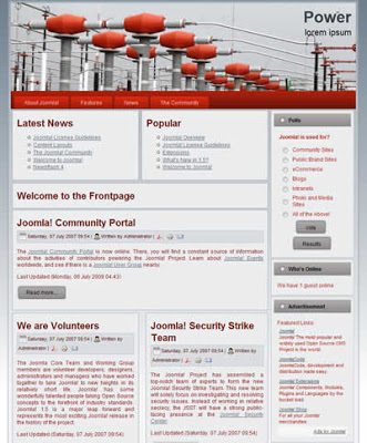 Two Column Joomla 1.5 Business Template - Power - Tutorial inside Free Blogger Templates For Business