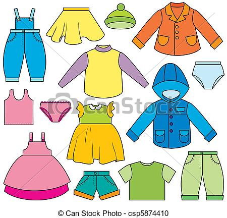 Vector Clipart Of Children'S Clothing - A Set Of Different pertaining to Clothing Store Business Plan Template Free