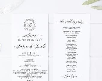 Wedding Ceremony Program Template Printable Instant intended for Wedding Ceremony Agenda Template