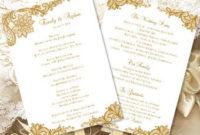 Wedding Ceremony Program Template Vintage Gold for Wedding Ceremony Agenda Template