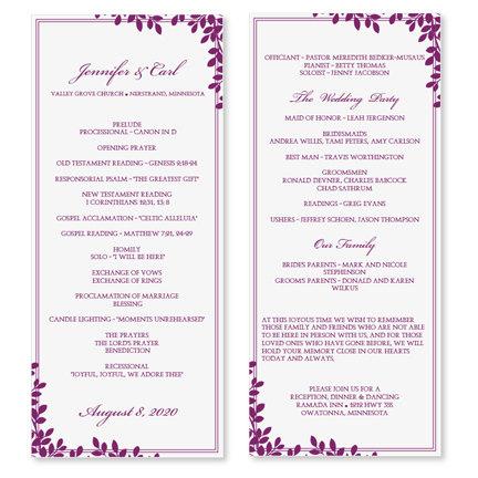 Wedding Program Template Download Instantlykarmakweddings inside Wedding Agenda Template