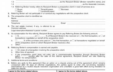 Wisconsin Real Estate Referral Agreement | 75 Main Group for Business Broker Agreement Template