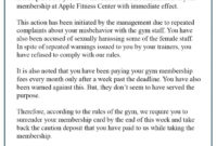 6+ Free Sample Cancellation Letter Template For Gym inside Gym Membership Cancellation Letter Template