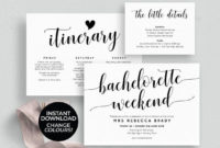 Bachelorette Weekend Invitation Download, Bachelorette intended for Bridal Shower Itinerary Template