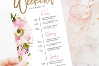 Bachelorette Weekend Itinerary Editable Template Wedding With Bachelorette Weekend Itinerary Template