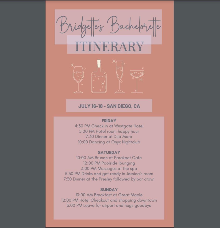 Bachelorette Weekend Itinerary Template Sophia Editable | Etsy For Bachelorette Weekend Itinerary Template