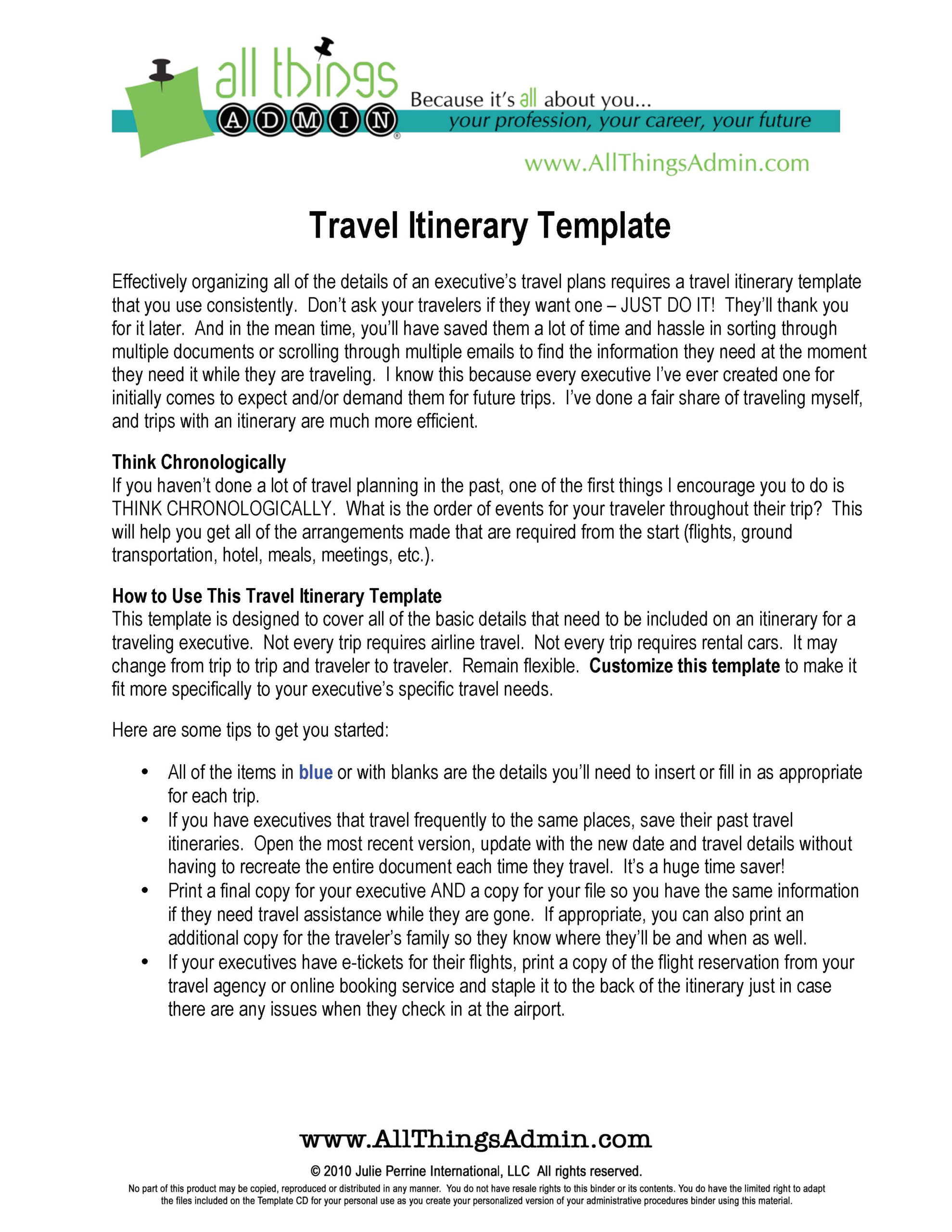 Basic Flight Itinerary Template – Pdf Format | E Database With Regard To Executive Assistant Travel Itinerary Template