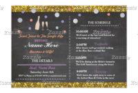 Bridal Shower Purple Chalk Itinerary Bachelorette Program for Bridal Shower Itinerary Template