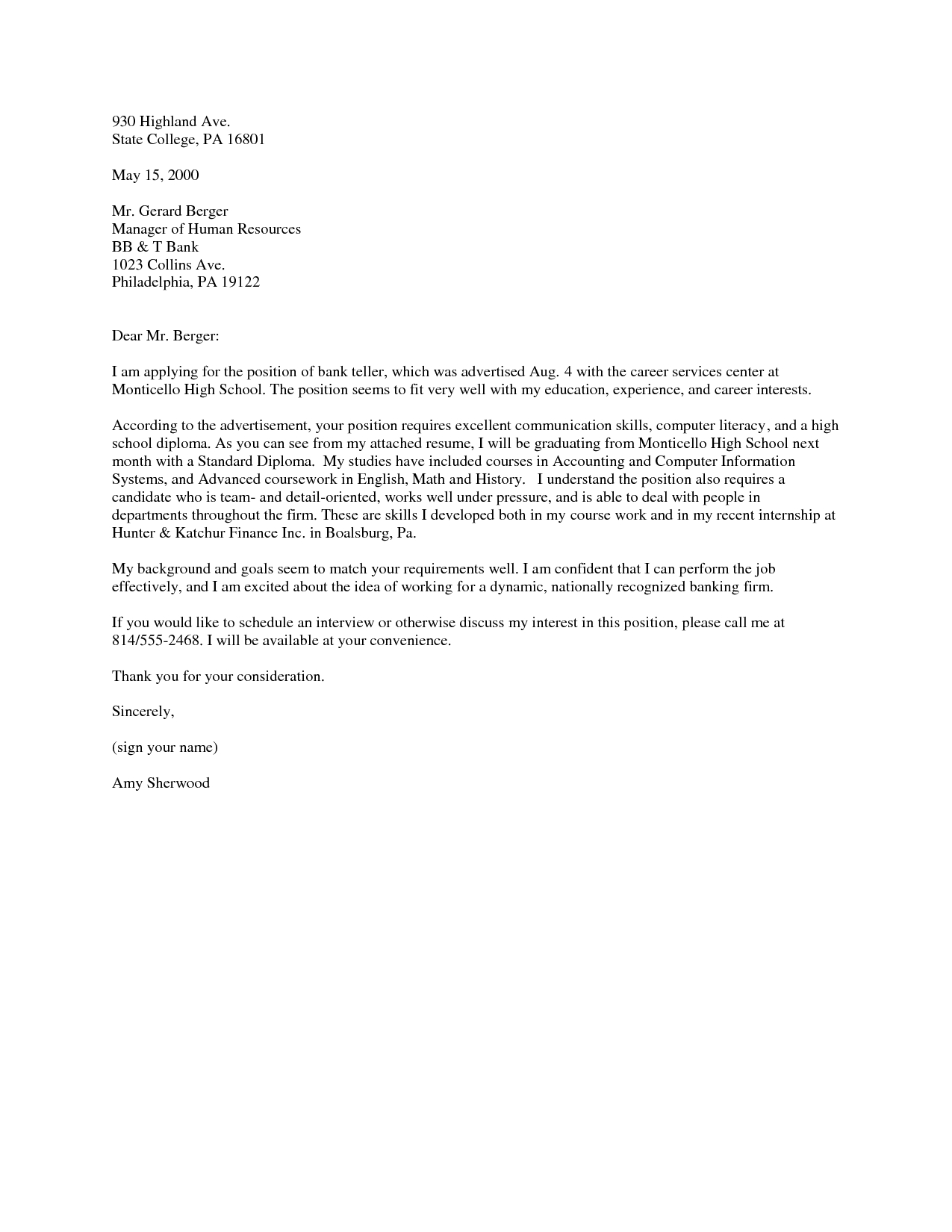 Cover Letter Template For Banking Position – Google Search Regarding Banking Cover Letter Template