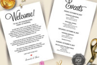 Editable Wedding Welcome And Itinerary Card Editable Pdf within Honeymoon Itinerary Template