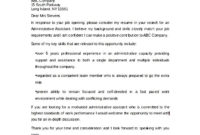 Example Of Administrative Assistant Cover Letter - Sample with regard to Cover Letter Template For Administrative Assistant