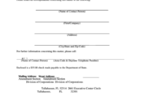 Fillable Statement Of Change Of Registered Office/Agent within Investor Update Letter Template