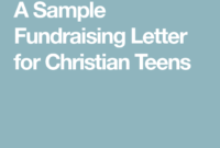 For Christian Teens   Christian Teens, Sample Fundraising in Missionary Support Letter Template