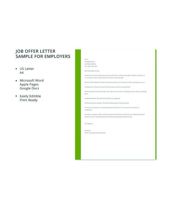 Free 15+ Sample Job Offer Letter Templates In Pdf | Ms In Employment Offer Letter Template