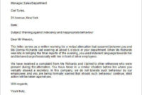 Free How To Write A Warning Letter For Employee Conduct within Final Warning Letter For Lateness