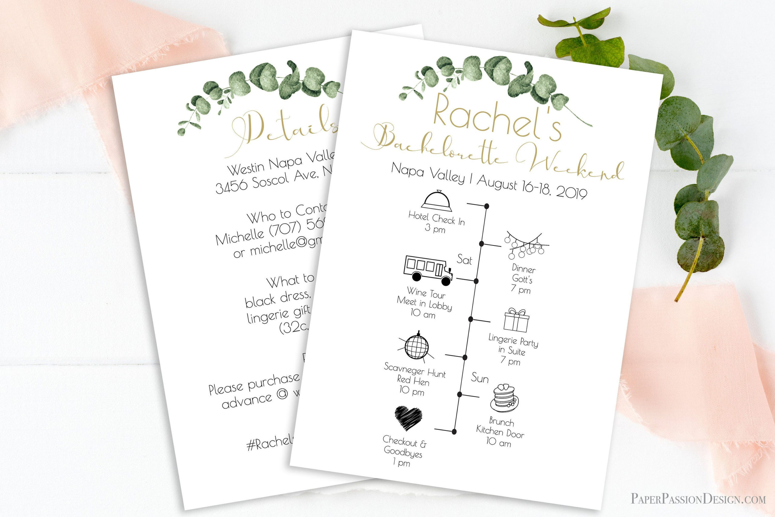 Greenery Bachelorette Weekend Timeline Template Gold Regarding Bachelorette Weekend Itinerary Template