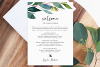 Greenery Welcome Letter Template, Wedding Itinerary Card with Wedding Welcome Itinerary Template
