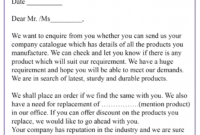 Inquiry Letter - Letter with Franchise Inquiry Letter Template