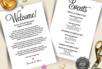 Itinerary Cards For Wedding Hotel Welcome Bag - Printed within Destination Wedding Weekend Itinerary Template