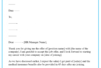 Job Acceptance Letter Template - Format, Sample & Example within Accepting Resignation Letter Template
