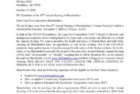 News - 20 Day Notice Until The 47Th Annual Meeting Of inside Dividend Letter To Shareholders Template