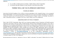 News – Copy Of Notice Of The 47Th Annual Meeting Of intended for Dividend Letter To Shareholders Template