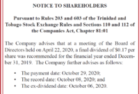 Notice To Shareholders - Angostura throughout Dividend Letter To Shareholders Template