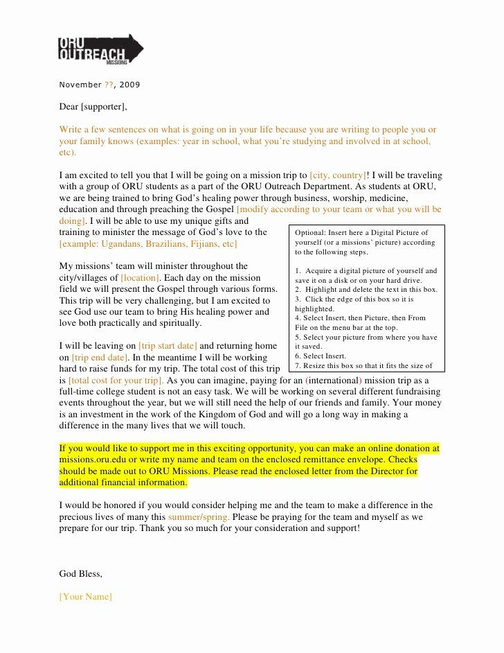 Oru Outreach Fundraising Letter 09 | Fundraising Letter Pertaining To Mission Trip Donation Letter Template