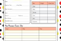 Printable Disney Itinerary Template   Calendar Template within Disney World Itinerary Template