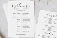 Printable Wedding Itinerary Template Wedding Weekend | Etsy within Destination Wedding Weekend Itinerary Template