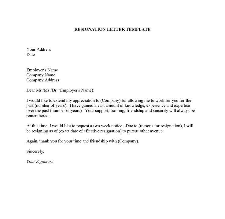 Resignation Letter Sles Pdf Doc Format   Resignation With Regard To Generic Resignation Letter Template