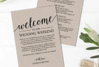Rustic Wedding Itinerary Template / Printable Wedding pertaining to Wedding Welcome Bag Itinerary Template