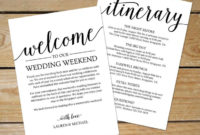 Rustic Wedding Itinerary Template / Printable Wedding pertaining to Wedding Welcome Itinerary Template