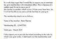 Sample-Gym-Cancellation-Letter - Best Letter Template within Gym Membership Cancellation Letter Template