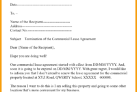 Sample Letter To Terminate Lease Agreement For Your Needs pertaining to End Lease Letter Template