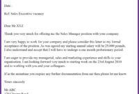 Sample Offer Letter Format For Sales Executive   Classles regarding Executive Offer Letter Template
