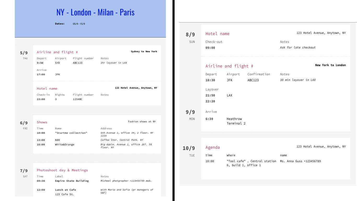 Templates – Ag Assistant | Anna Guss With Regard To Executive Assistant Travel Itinerary Template