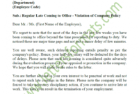 Warning Letter To Employee For Late Coming Samples with Final Warning Letter For Lateness