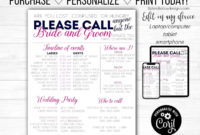 Wedding Day Timeline Schedule Template Bridal Party | Etsy regarding Wedding Party Itinerary Template