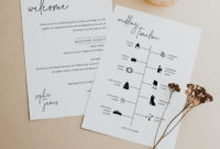 Wedding Itinerary Card Template, Minimalist Elegant regarding Honeymoon Itinerary Template